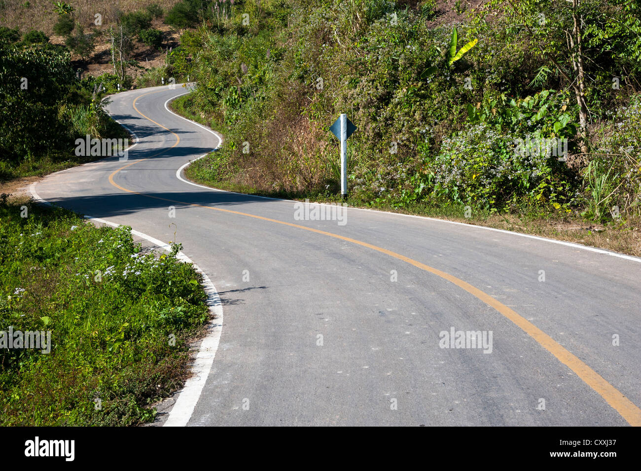 Winding tarmac road, Northern Thailand, Thailand, Asia - Stock Image