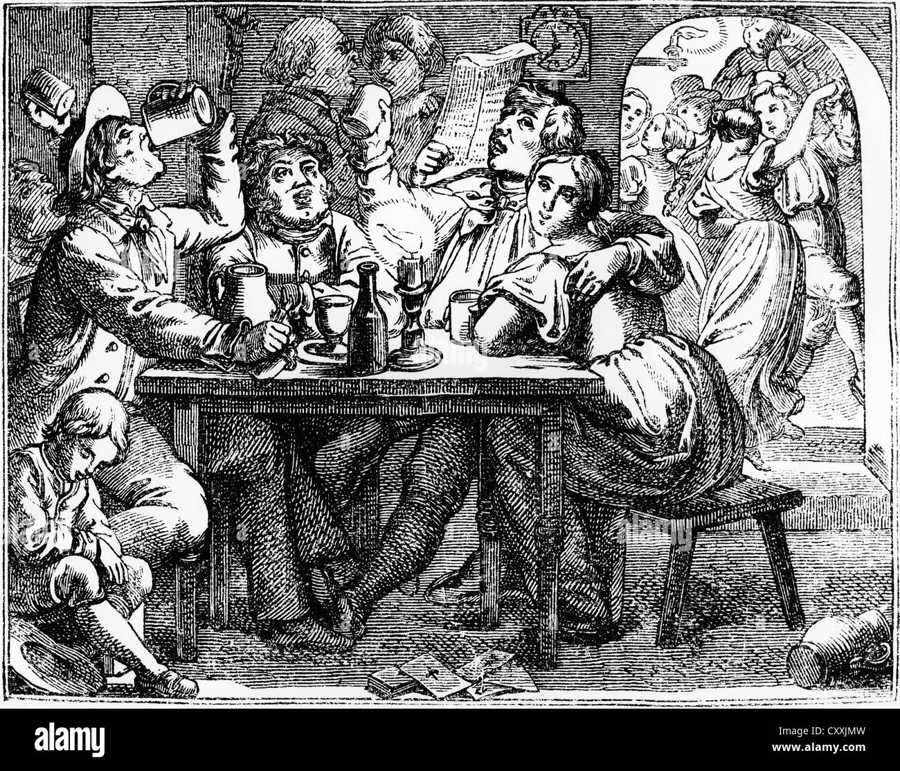In the tavern with wine, beer and dancing, engraving, end of the 19th Century - Stock Image