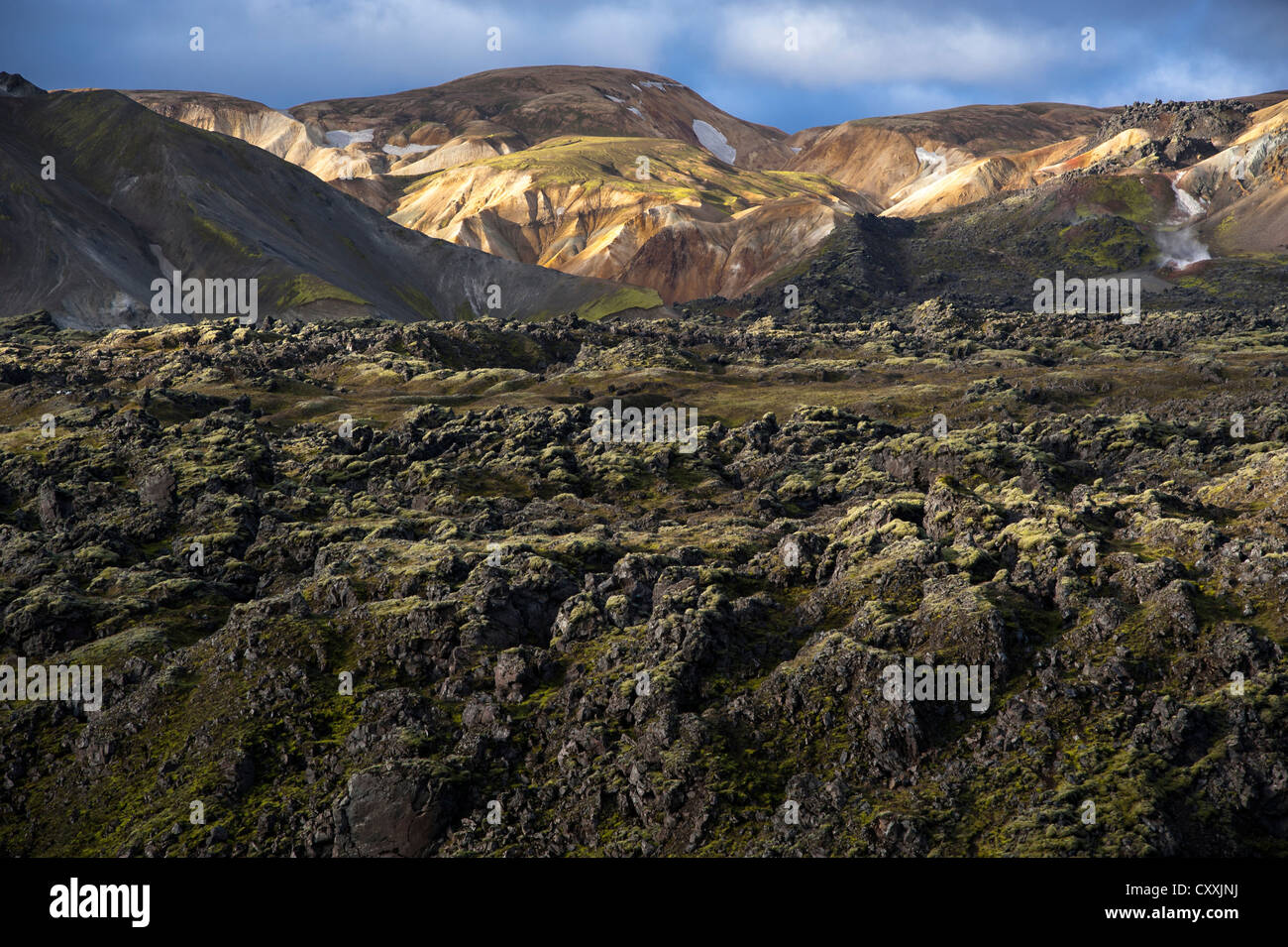 Rhyolite mountains and Laugahraun lava field, Landmannalaugar, Fjallabak Nature Reserve, Highlands of Iceland, Iceland, Stock Photo