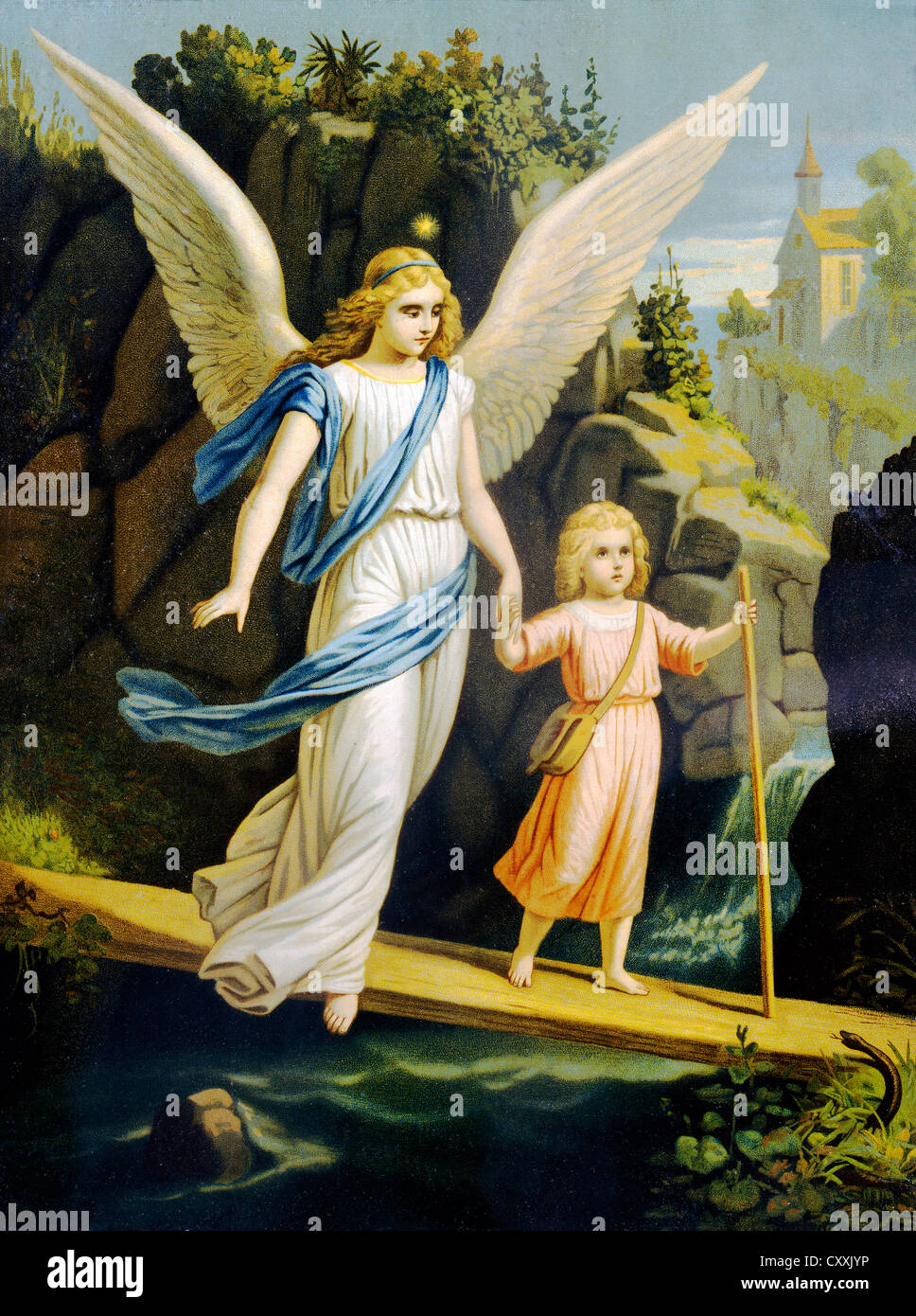 Guardian Angel Leading A Child Across A Bridge Print Around 1900