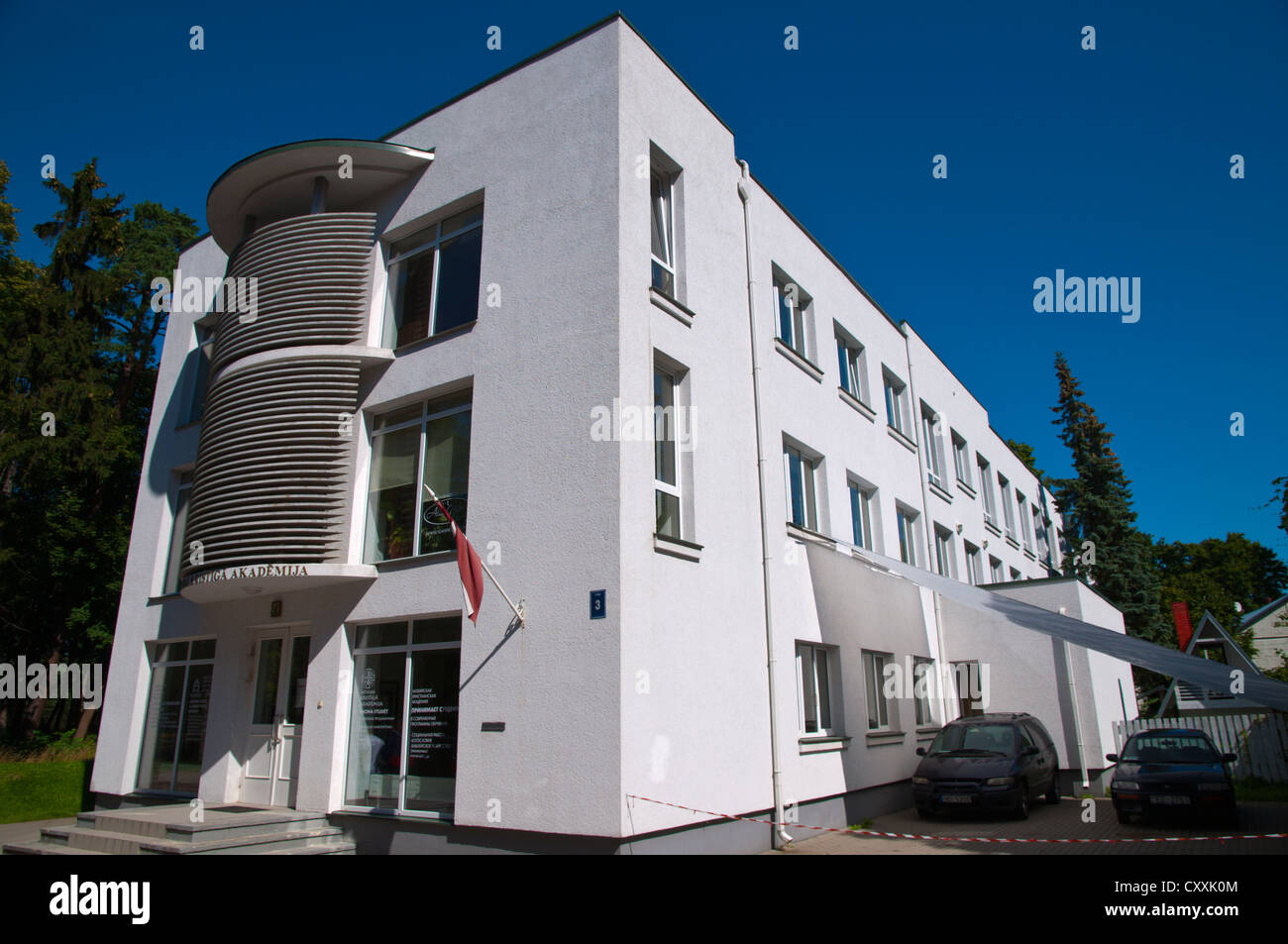Building housing Latvijas Kristiga Akademija the Latvian Christian Academy in Bulduri at Jurmala beach resort near - Stock Image