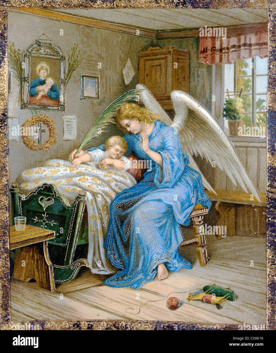 Guardian angel with a sleeping child, print, around 1900, in private hands - Stock Image