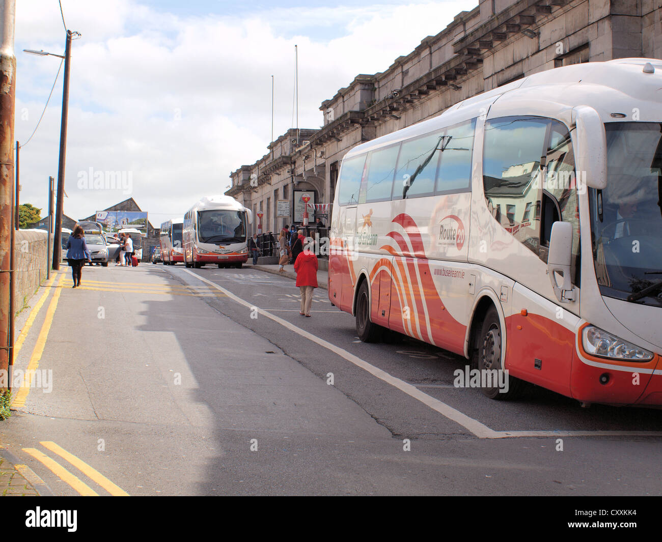 Galway City bus station and train terminus in the West of Ireland. - Stock Image