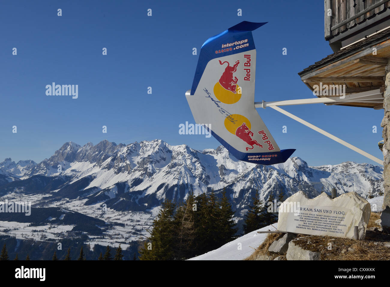 Panoramic views of Dachstein massif, Dachstein Suedwand, memorial stone for Felix Baumgartner whose practice area - Stock Image