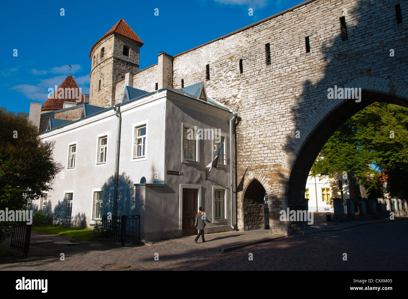 Defensive walls and Saunatorn tower along Suur-Kloostri street at the gates of old town Tallinn Estonia Europe - Stock Image