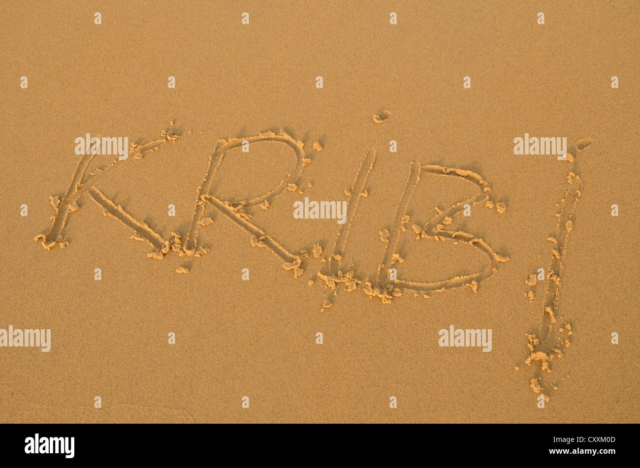 Kribi written in the sand at a beach near Kribi, Cameroon, Central Africa, Africa - Stock Image