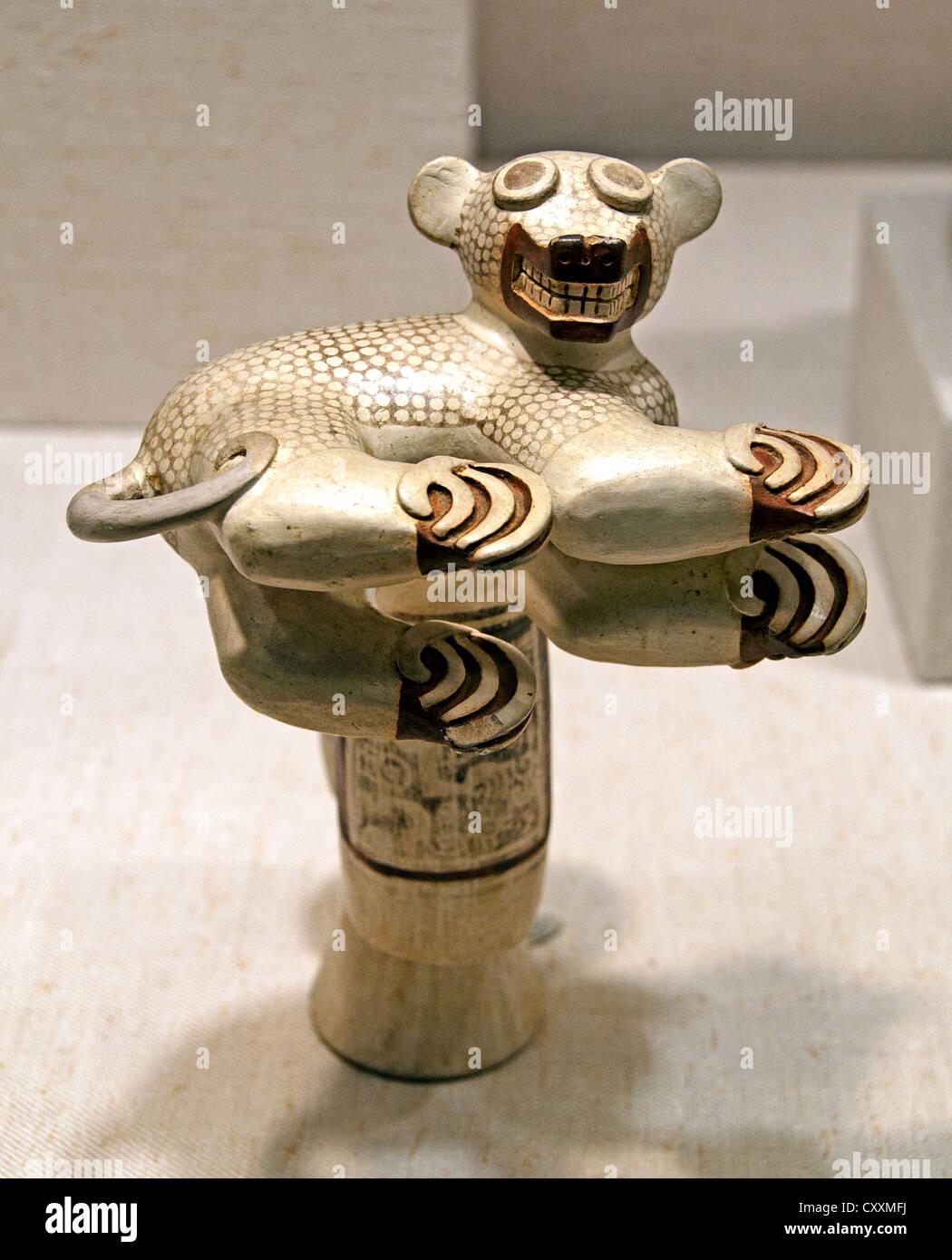 Pedestal Vessel with Coatimundi Peru Peruvian Recuay 1-300 CE Ceramic - Stock Image