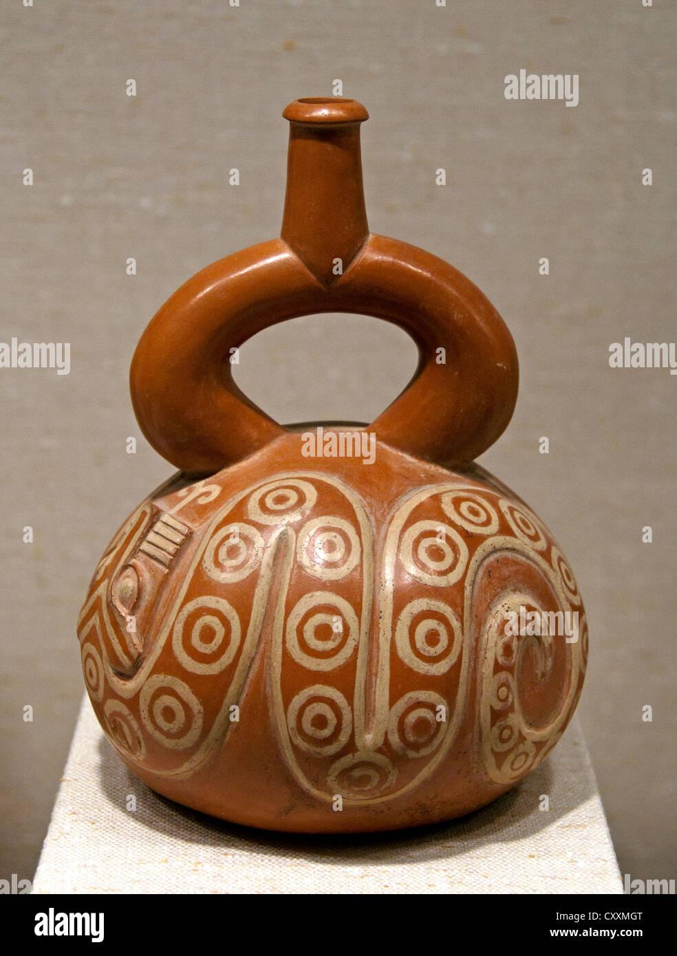 Bottle with Snake 2nd–5th century  Peru Peruvian Moche 20 cm - Stock Image