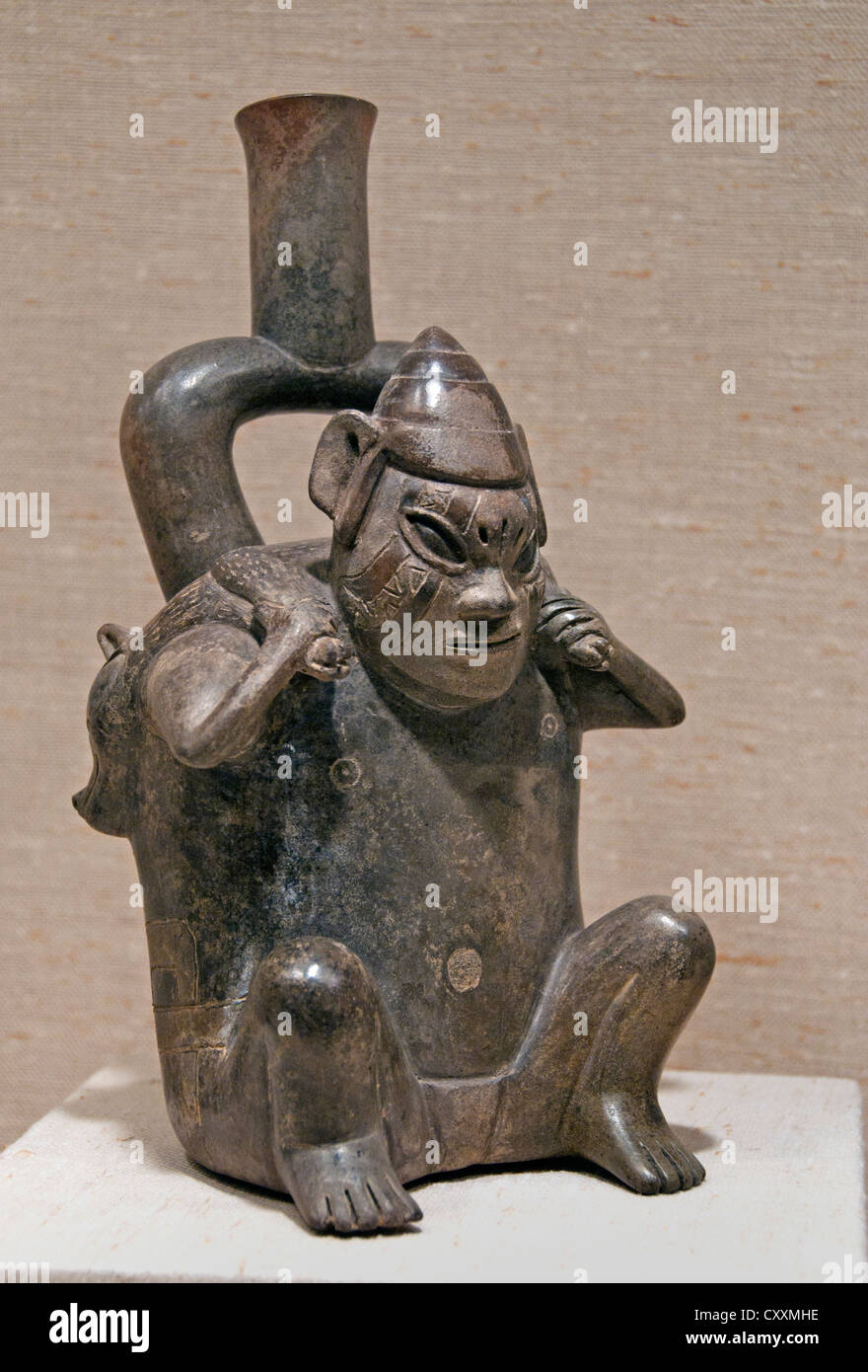 Stirrup Spout Bottle Figure Carrying Deer 12th–5th century BCE Peru Peruvian  Cupisnique 13cm - Stock Image