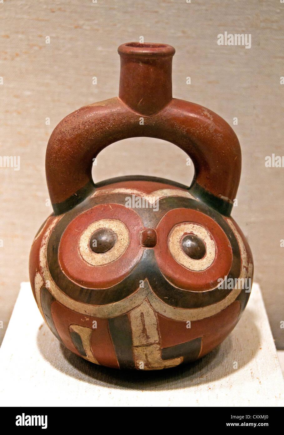 Stirrup Spout Bottle Owl15th–9th century BCE Peru Peruvian Cupisnique Ceramic - Stock Image