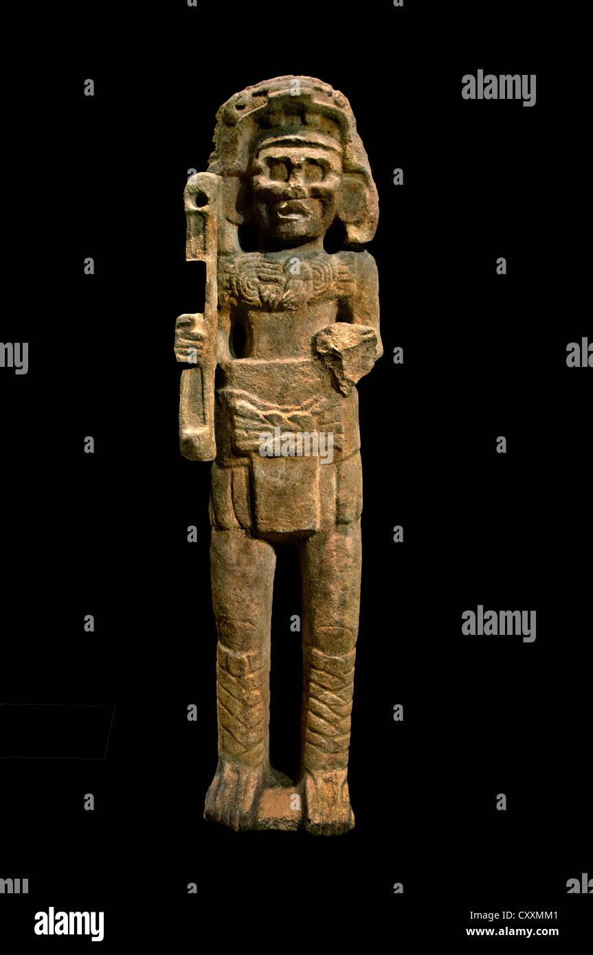 Monumental Figure 9th century Mexico Mesoamerica  Maya Limestone 214 cm Mexican - Stock Image