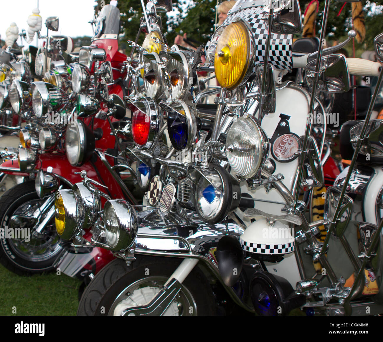 Mod Culture Lambretta Motor Scooters Headlamps & Mirrors - Stock Image
