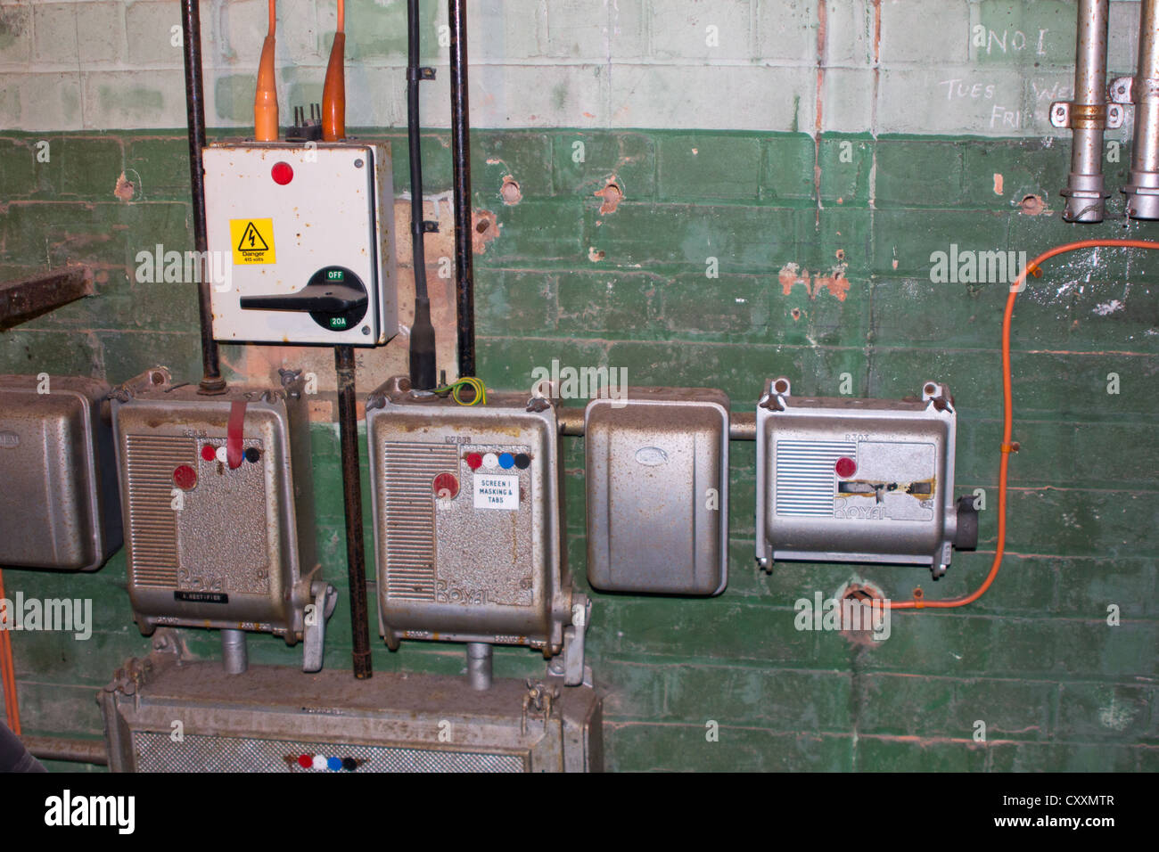 old electrical switches and fuse boxes