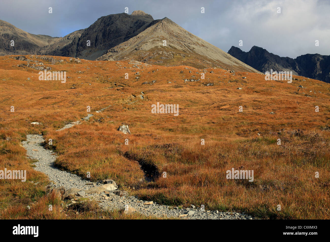 The lonely and deserted path  to the Cuillin Mountains on the Isle of Skye off the west coast of  Scotland - Stock Image