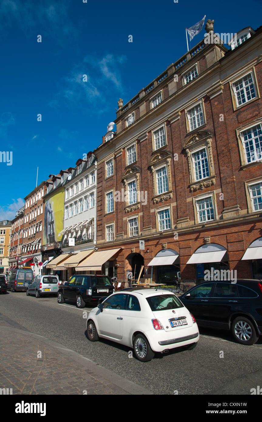 Traffic at Kongens nytorv square central Copenhagen Denmark Europe - Stock Image