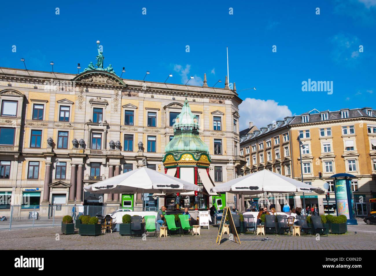 Outdoor cafe Kongens nytorv square central Copenhagen Denmark Europe - Stock Image