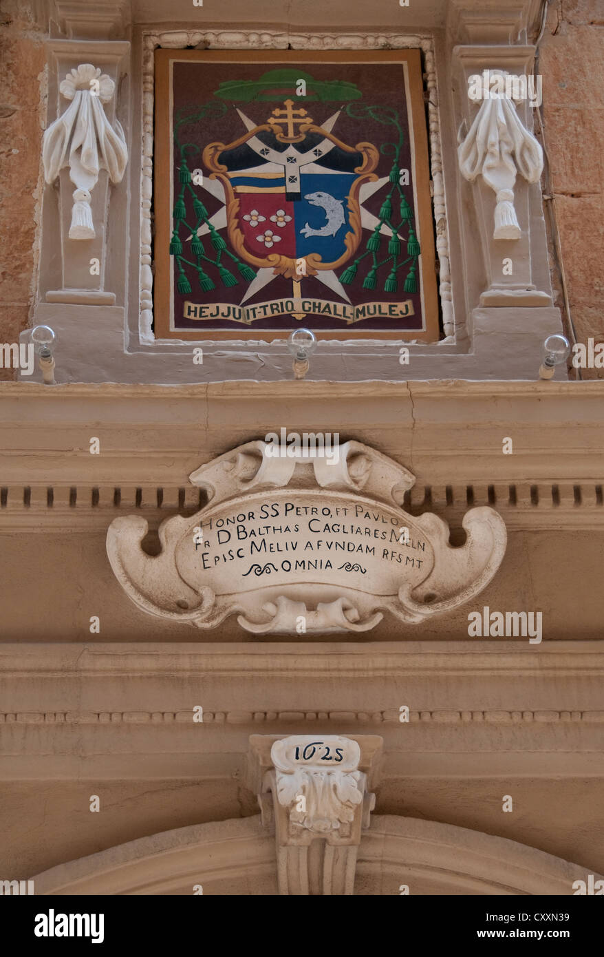 Detail from the doorway of the Archbishop's Palace, Mdina, Malta - Stock Image