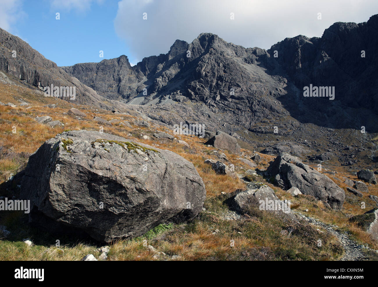 The wild beauty of the Cuillin Mountains on the Isle of Skye in the Scottish Highlands - Stock Image