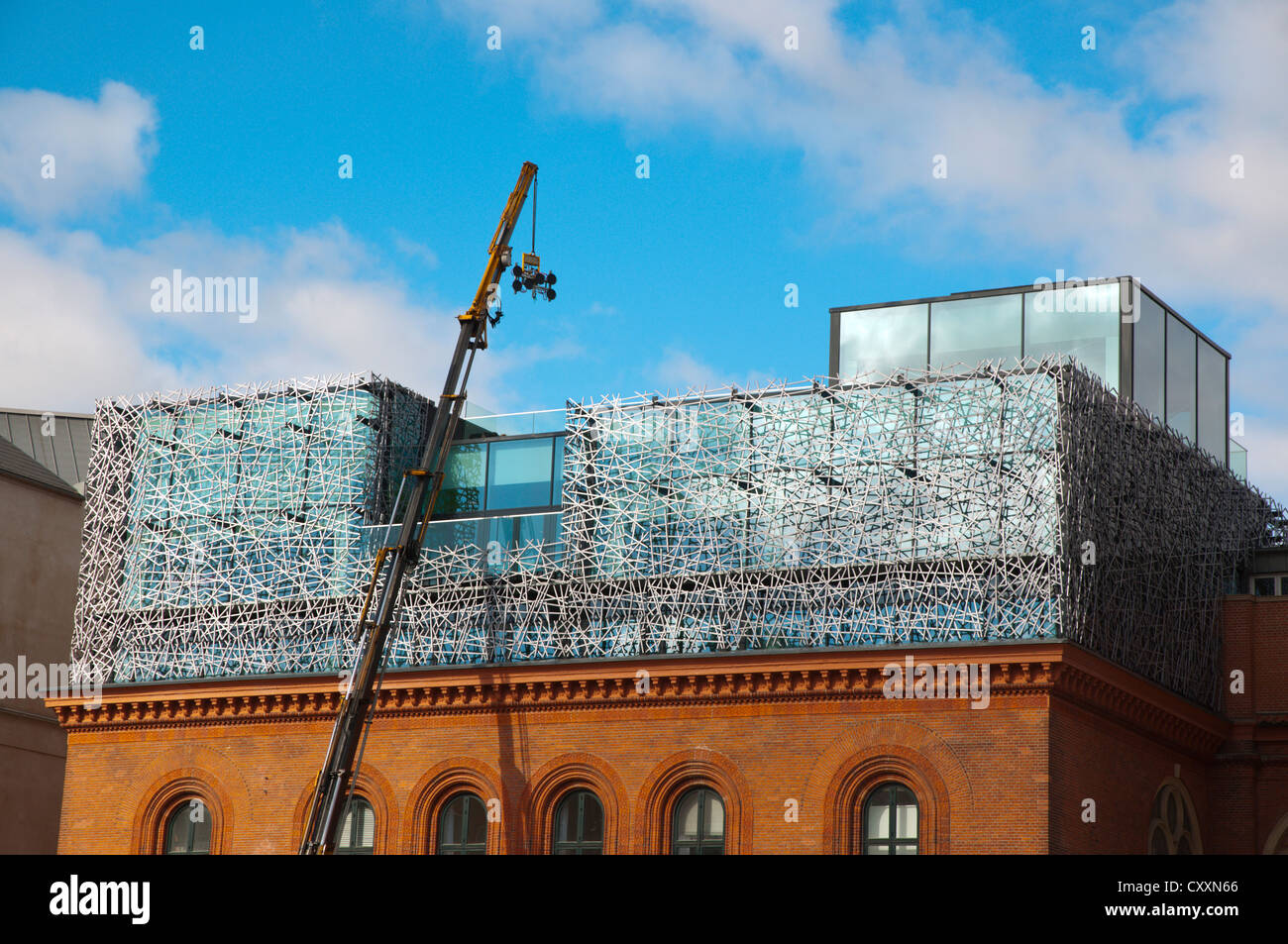 Extension work installation of new floors on top of old building Norreport central Copenhagen Denmark Europe - Stock Image