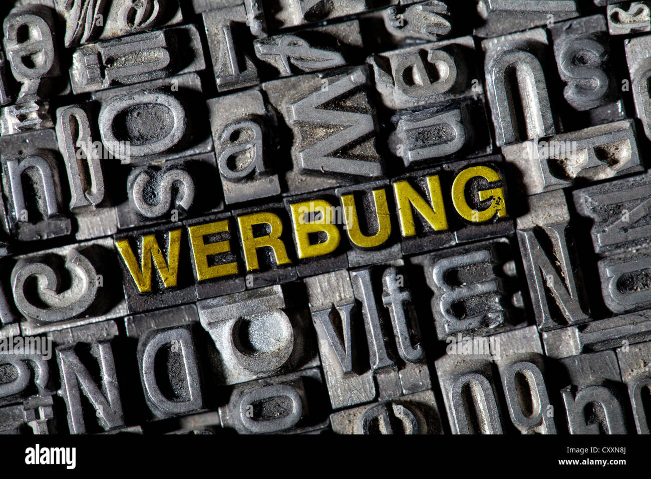 "Old lead letters, lettering ""WERBUNG"", German for ""advertising"" Stock Photo"
