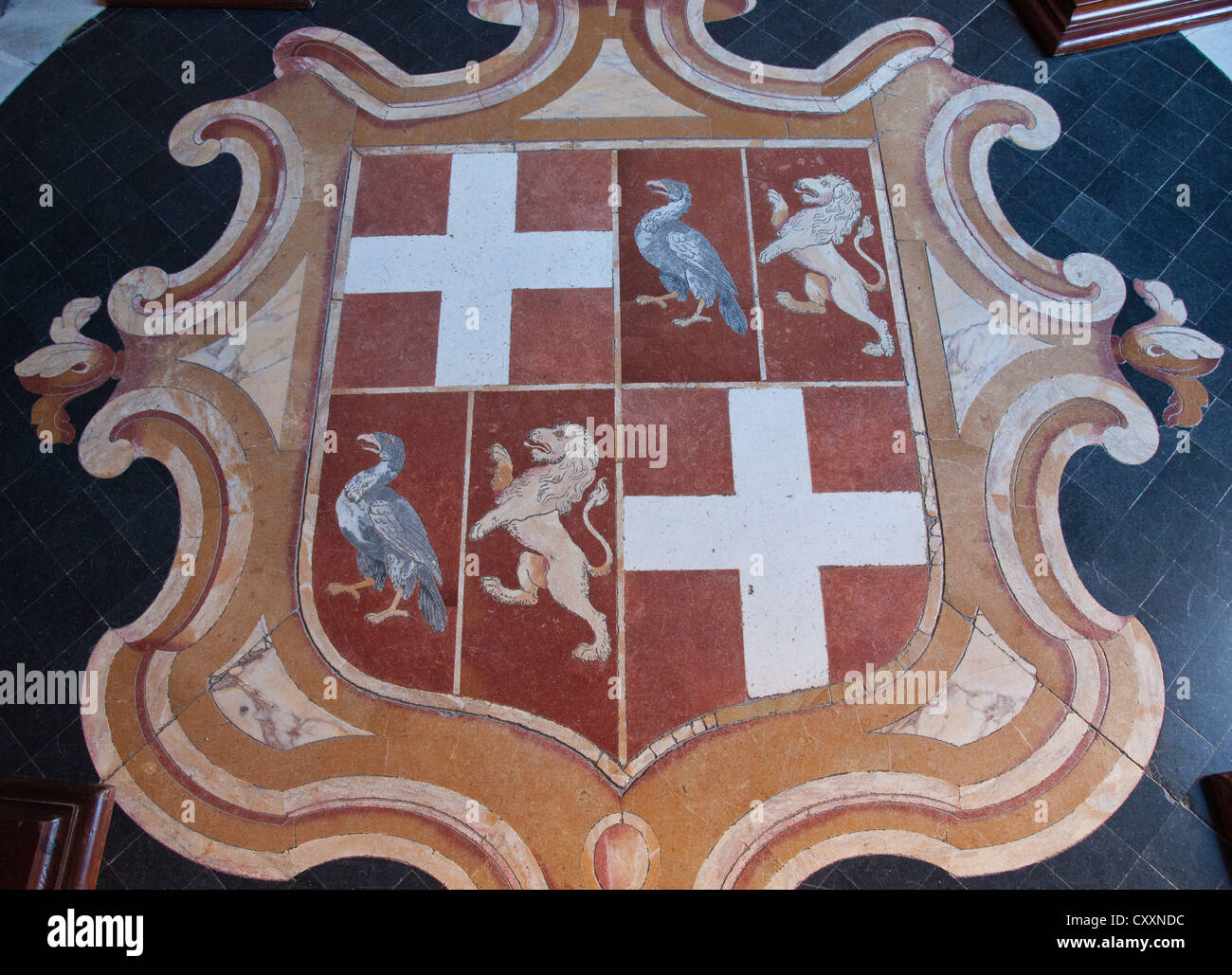 Sheild with coat of arms in the floor of Armoury Corridor, State Apartments, Grand Master's Palace, Valletta, - Stock Image