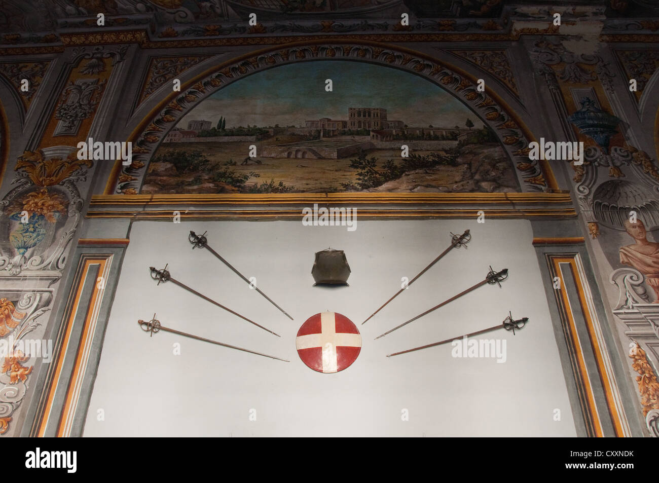 One of many trompe l'oeil paintings and armoury displays along the Armoury Corridor in the State Apartments - Stock Image