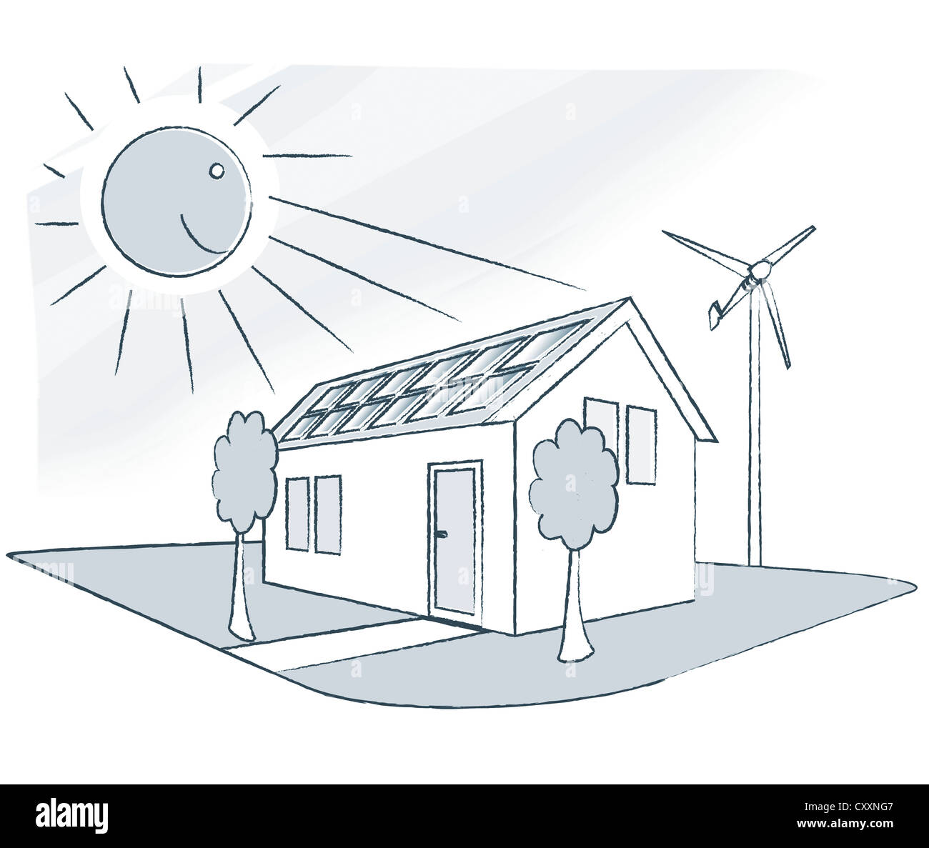 Houses Wind Energy Diagram Circuit Wiring And Hub How Solar Panels Work House With A Small Turbine Illustration Stock Rh Alamy Com Of