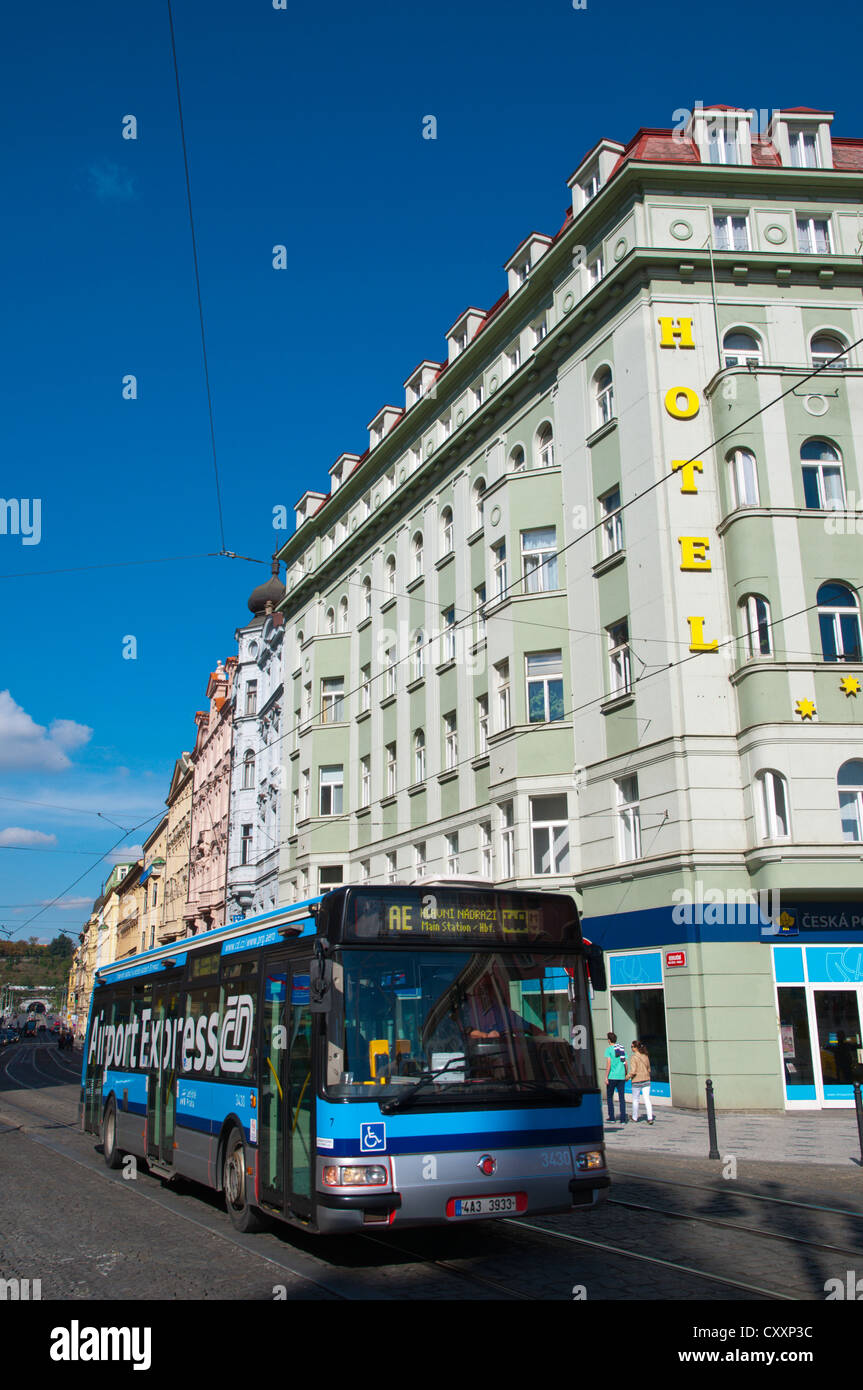 AE Airport Express direct bus at namesti Republiky square central Prague Czech Republic Europe - Stock Image