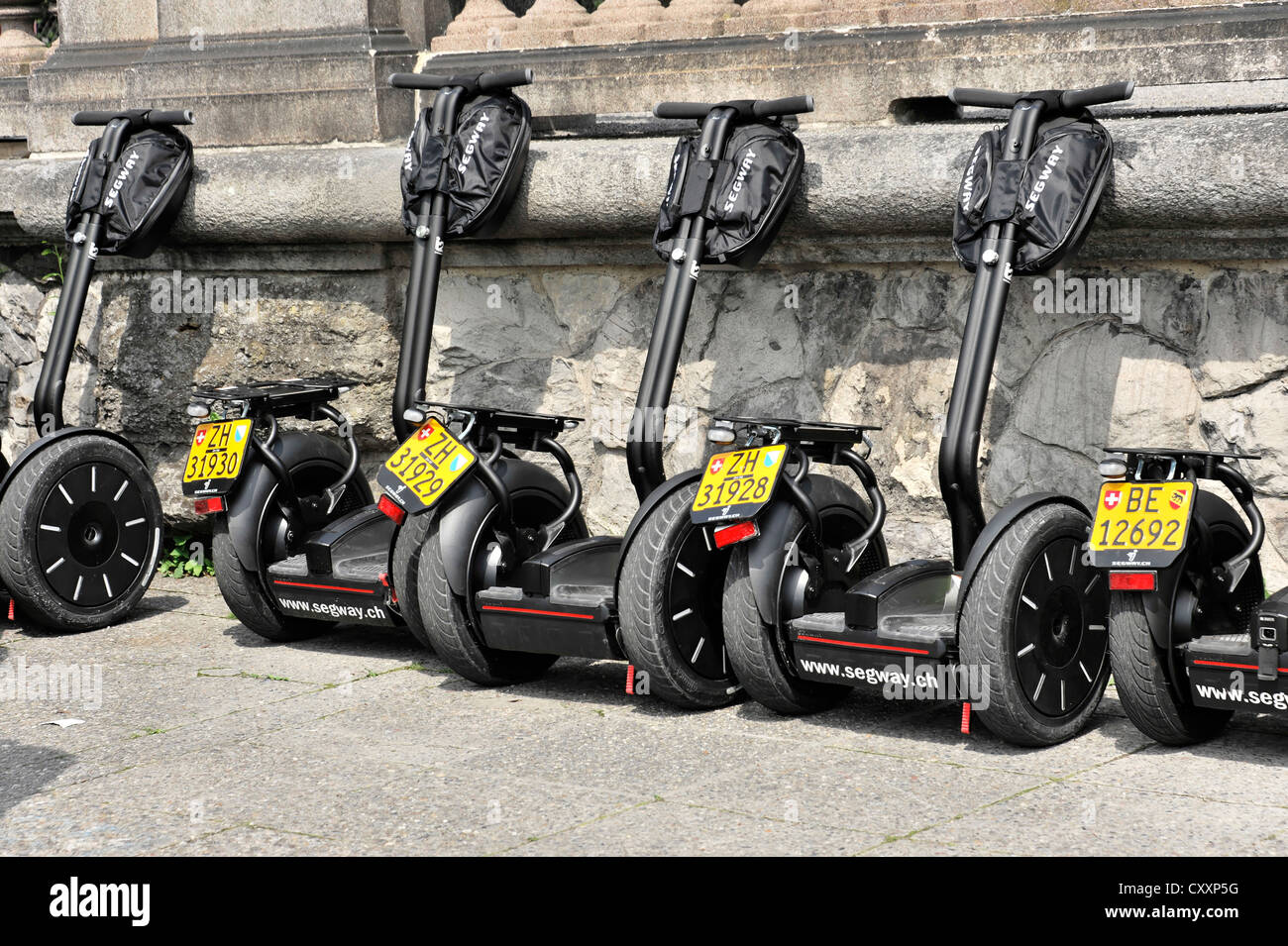 Parked segways, Bahnhofstrasse, Zurich, canton of Zurich, Switzerland, Europe - Stock Image