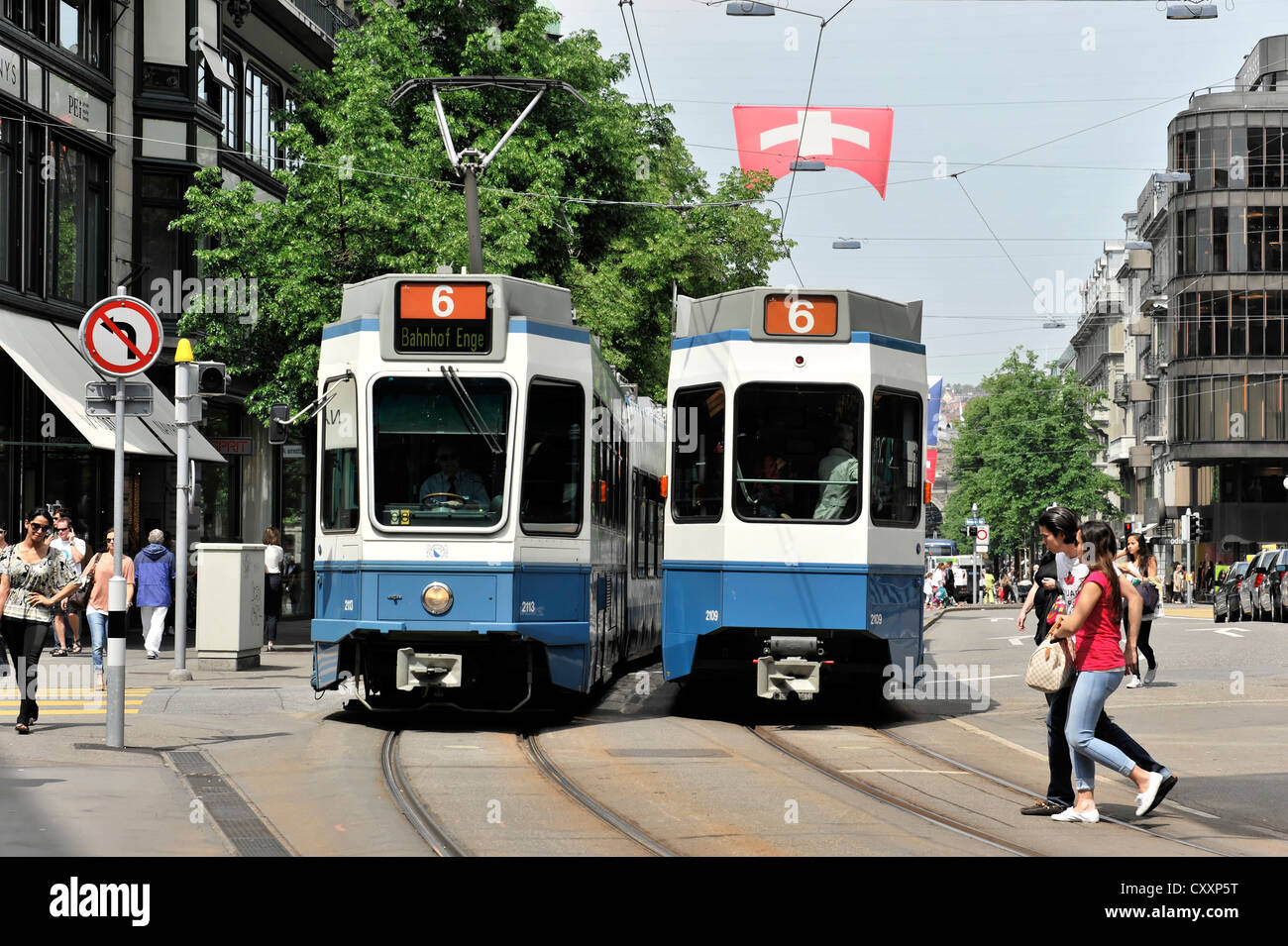 Trams, Bahnhofstrasse street, Zurich, canton of Zurich, Switzerland, Europe - Stock Image