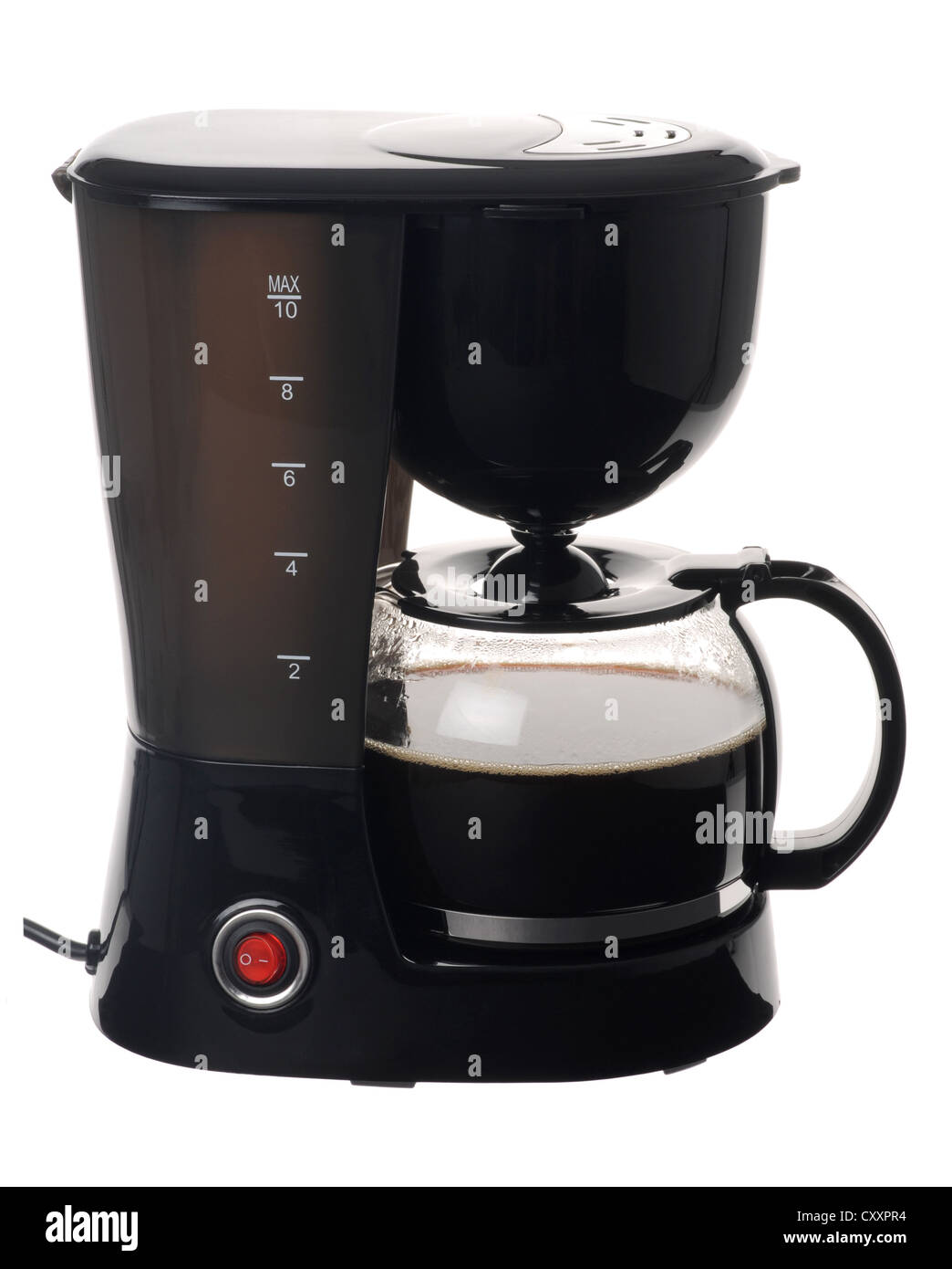"Coffee pot machine, 'coffee maker' on ""white background"" - Stock Image"