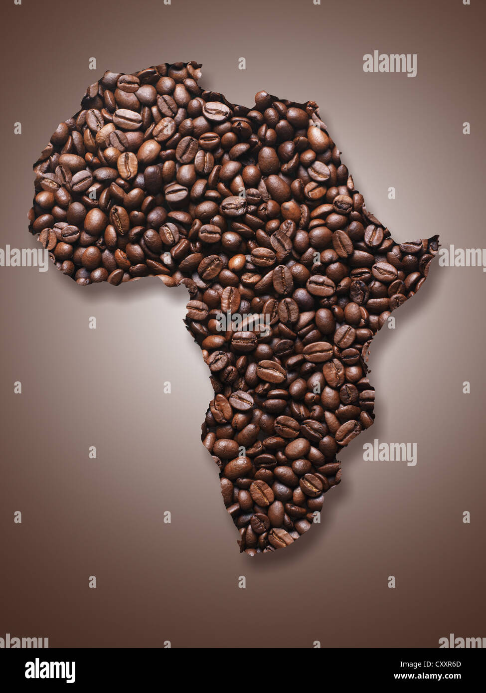 Outline of Africa formed by coffee beans - Stock Image