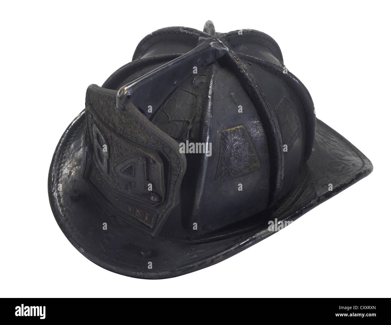 Blackened & Burned Fireman Helmet Stock Photo