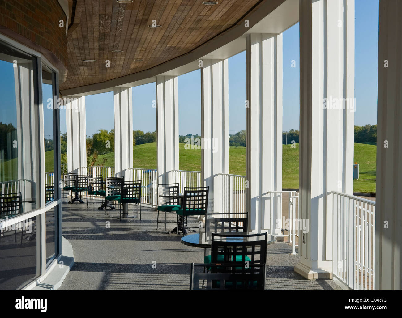 Patio With Columns, Golf Country Club, Tennessee USA - Stock Image