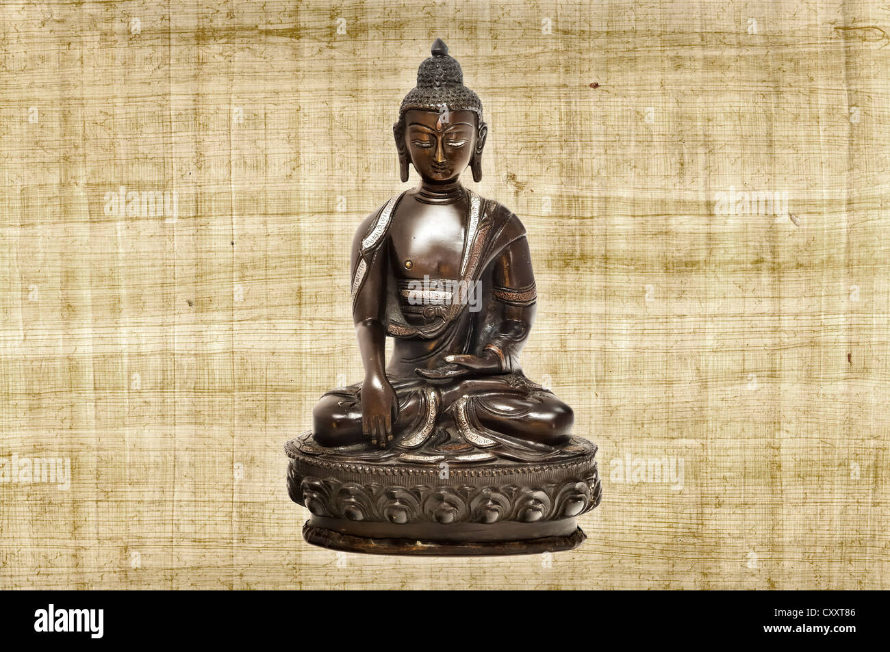 Tibetan Buddha statue made of bronze - Stock Image