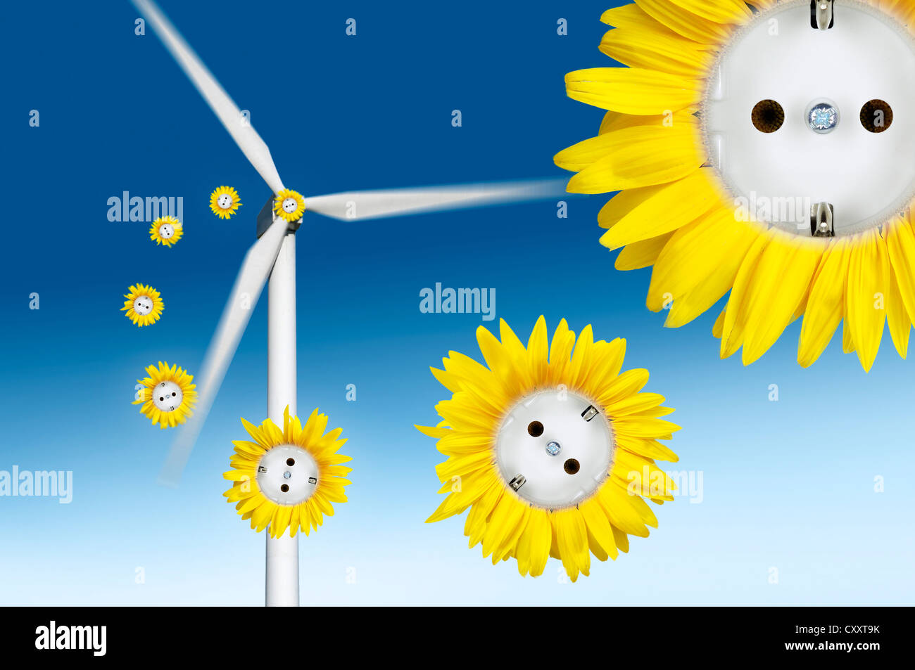 Symbolic image for wind power, sun flower sockets flying out of a wind turbine Stock Photo