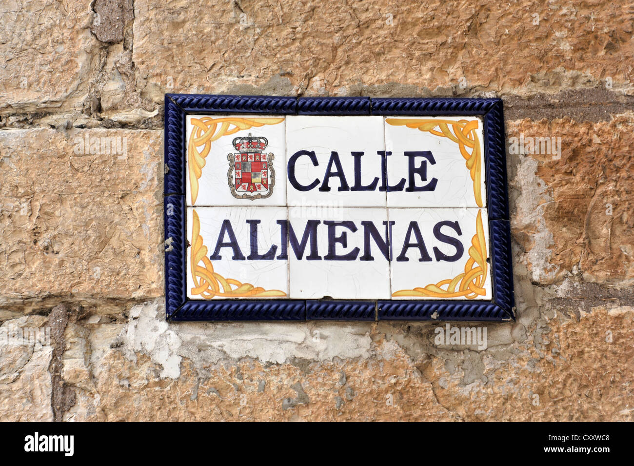 Calle Almenas, street sign, centre of Jaén, Andalusia, Spain, Europe - Stock Image