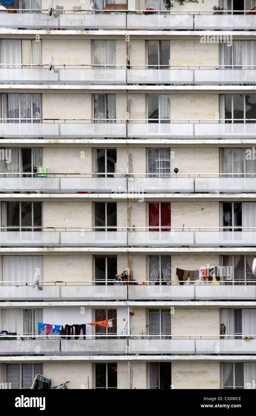 Balconies of an apartment tower, public housing - Stock Image