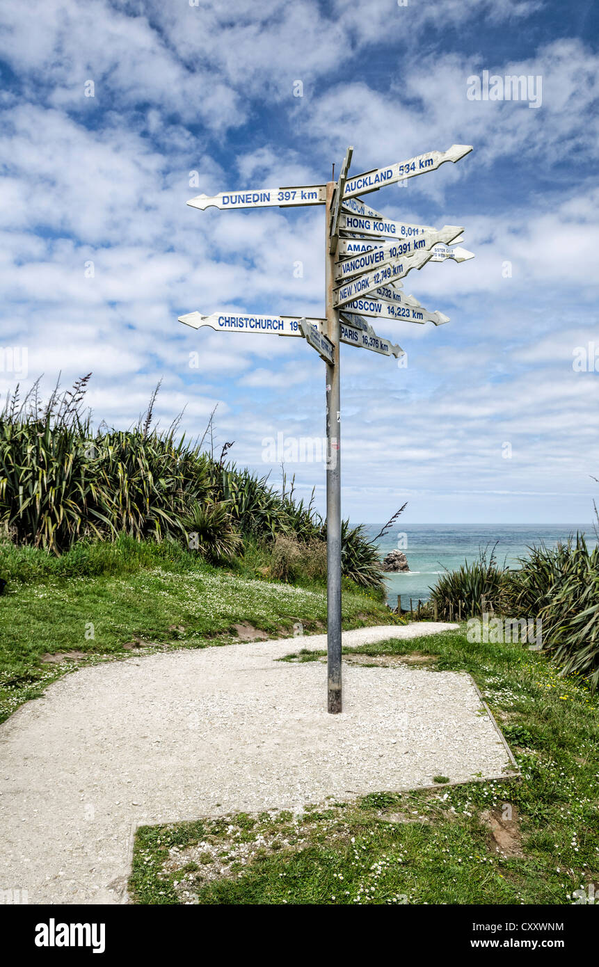 Signpost at Far-Away-Point, Tauranga Bay, Cape Foulwind, South Island, New Zealand, Oceania - Stock Image