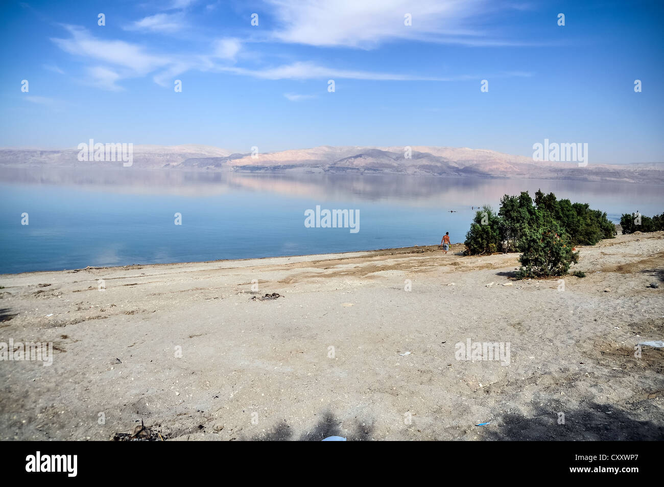 Landscape. Beautiful reflection in the Dead Sea in Israel. Stock Photo