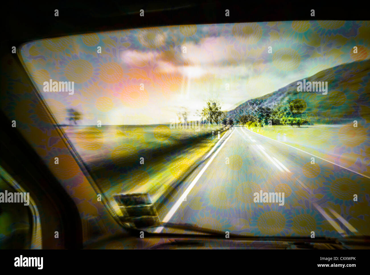 Driving under the influence of drugs, danger to road traffic, driving on the left, view from inside a car on the - Stock Image