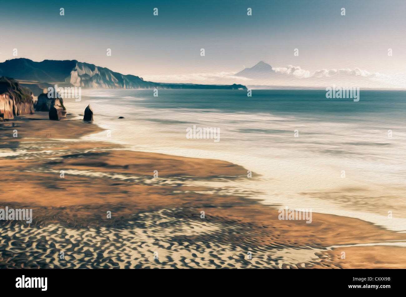 Stylised oil painting, beach in front of Mt. Egmont, Mt. Taranaki, currently an inactive volcano, North Island, - Stock Image