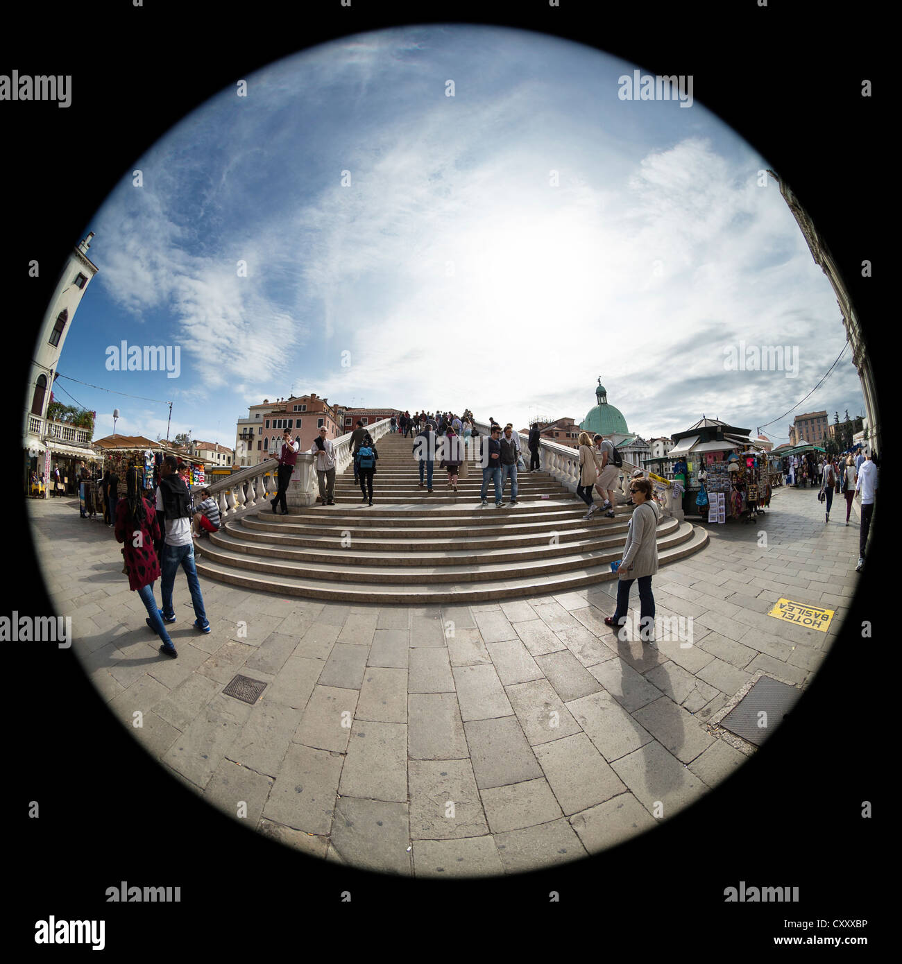 180 degree circular fisheye view of the Ponte degli Scalzi (the bridge of the barefoot monks) in Venice, from the Stock Photo