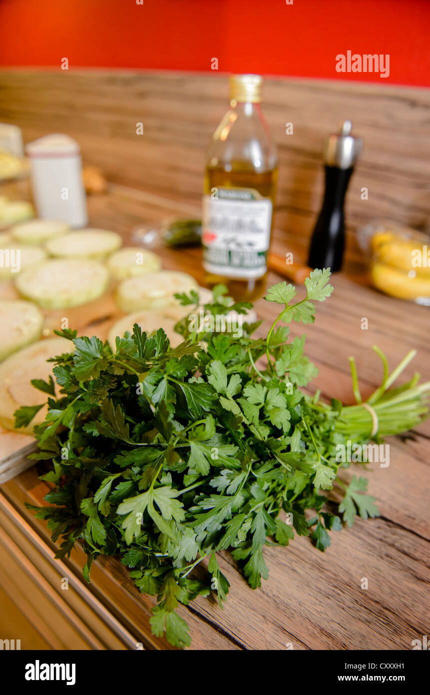 Bunch of parsley, cooking ingredients - Stock Image