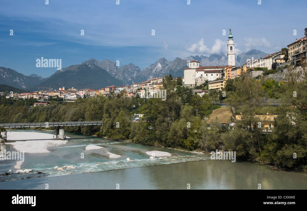Belluno on the Piave river, Italy, Europe - Stock Image