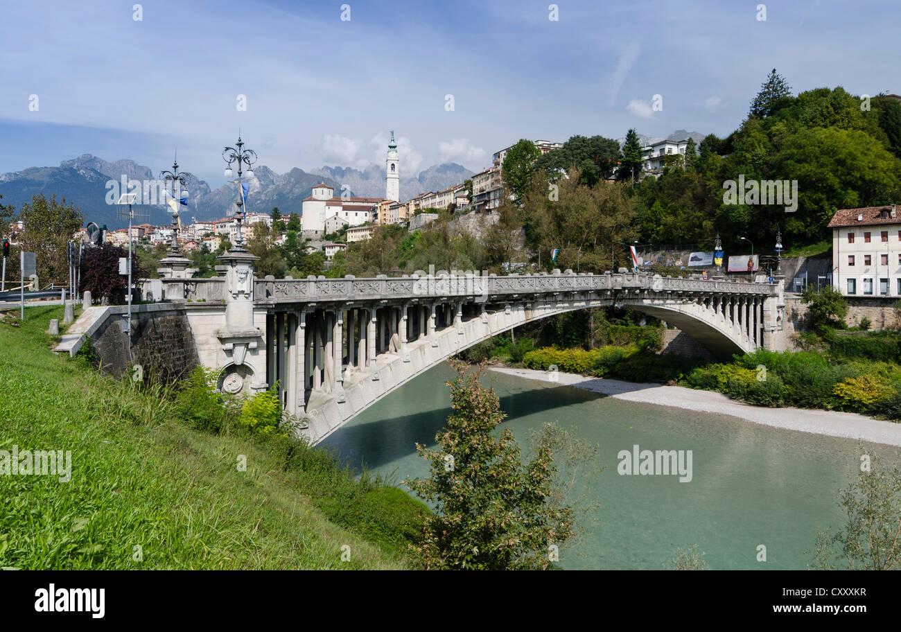Bridge across the Piave river, Belluno, Italy, Europe - Stock Image