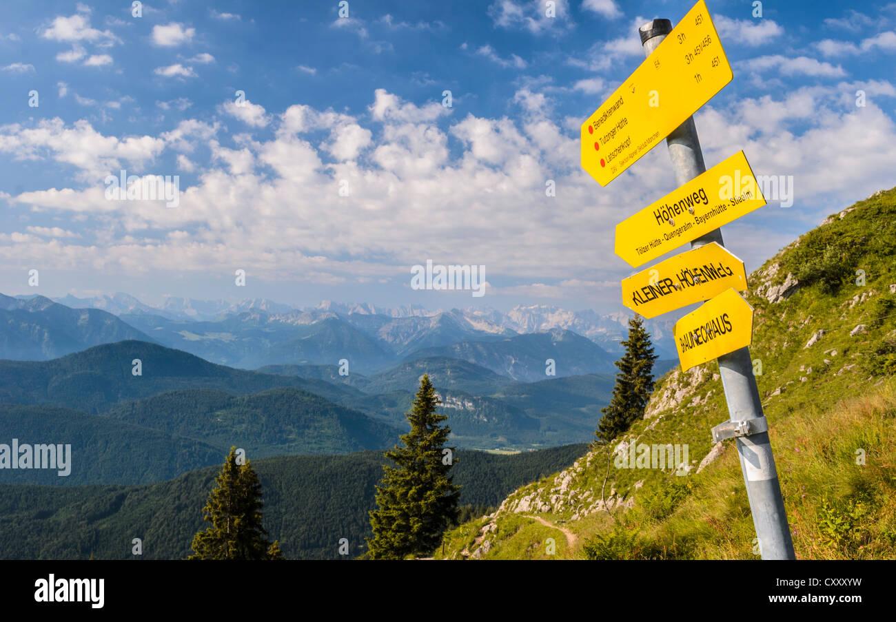 Signpost on Mt Brauneck, Bavaria - Stock Image