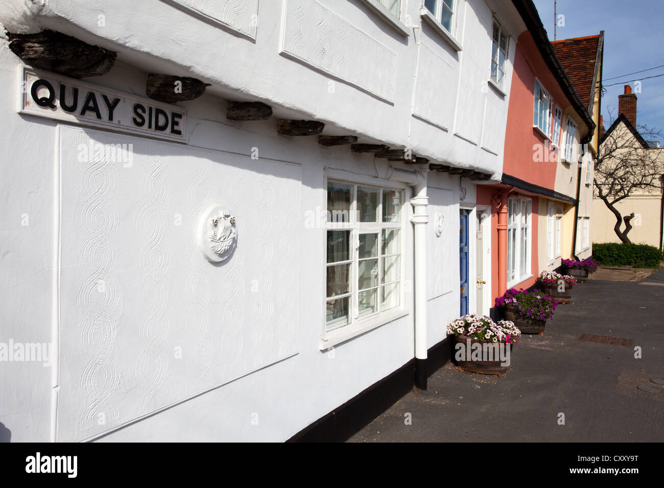 Old Buildings on Quayside at Woodbridge Suffolk England - Stock Image