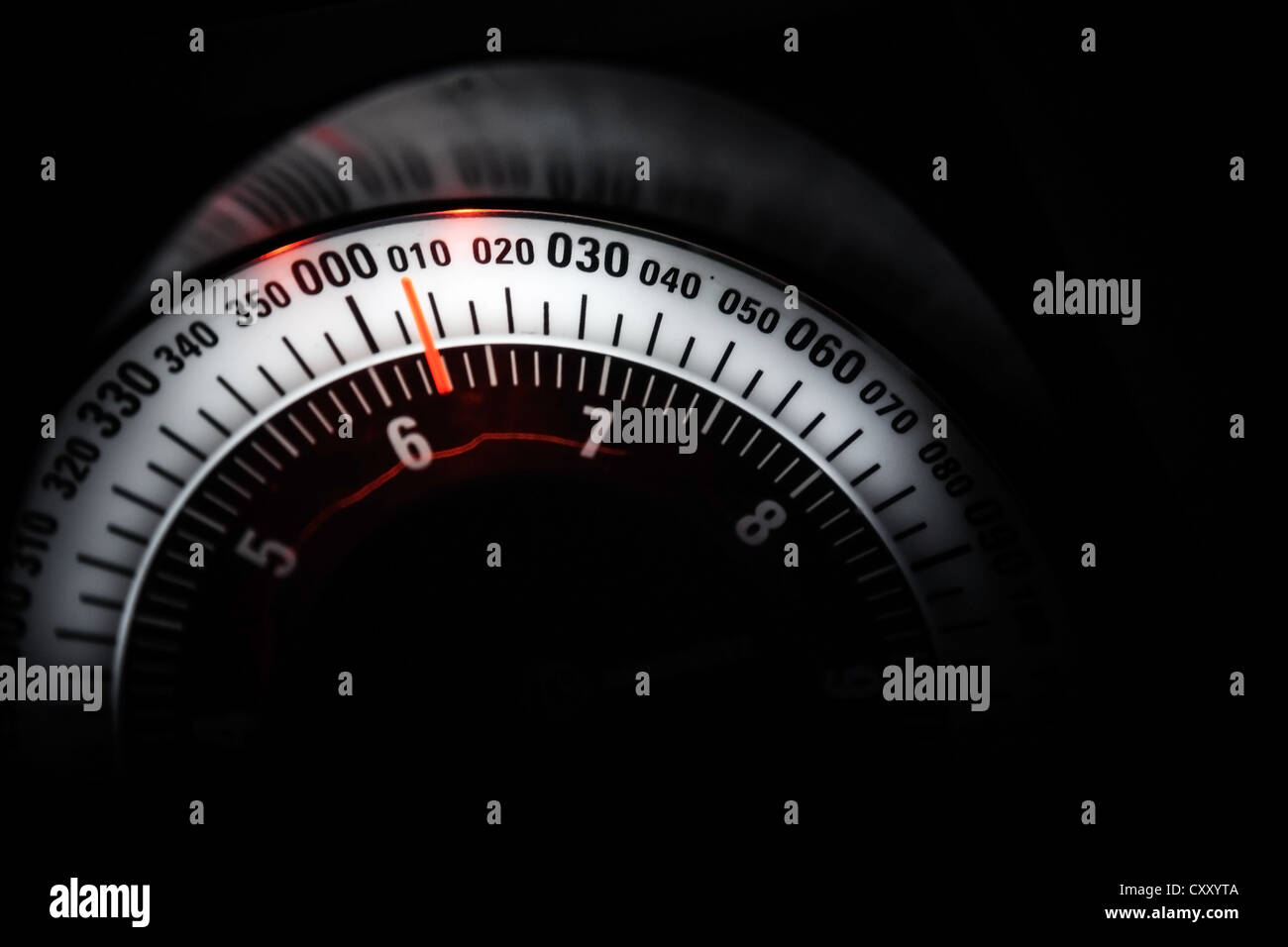 Lighted navigation indicator scale, selective focus - Stock Image