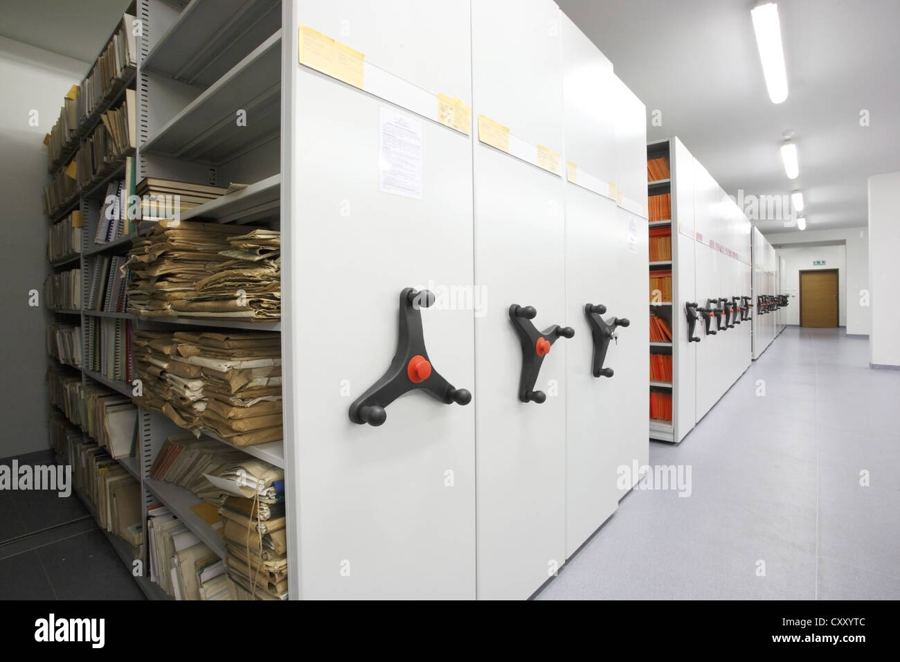 University library, university archives, file cabinets - Stock Image
